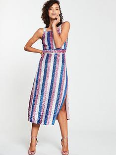 e87b1880bdf V by Very Striped Sequin Midi Dress - Multi