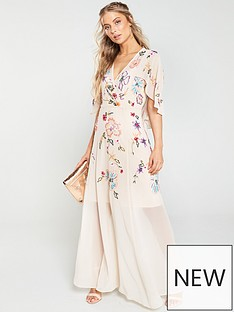 275de6faaa172 V by Very Embellished Cape Maxi Dress - Blush