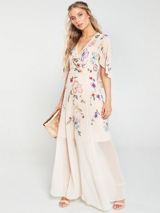 86136be2488 V by Very Embellished Cape Maxi Dress - Blush
