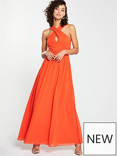 c092e431ffc V by Very Twist Front Maxi Dress - Hot Coral