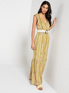 a75fb9ae5fd V by Very Shirred Waist Aztec Maxi Dress - Print