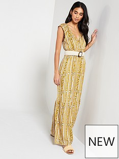 08d1a79355 V by Very Shirred Waist Aztec Maxi Dress - Print
