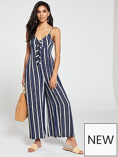 8e5b026feb7 V by Very Striped Tie Front Jumpsuit - Blue Print