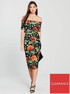 V by Very Spot And Flower Bodycon Dress - Printed d8cbab131