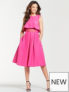 5062d3d14c Michelle Keegan Mesh Panel Prom Dress - Fuchsia