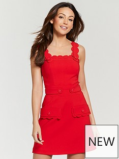 Michelle Keegan Scallop Button Front Pinafore Dress - Red f5a11287c