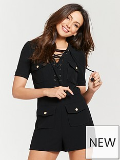 9691dbf4ae8 Michelle Keegan Lace Up Utility Playsuit - Black