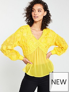 v-by-very-embroidered-crochet-trim-blouse-yellow