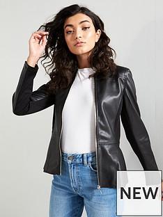 2ee104e087e V by Very Faux Leather Peplum Jacket – Black