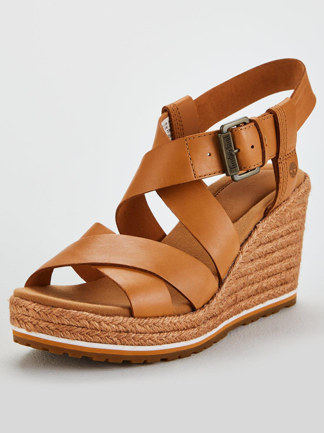 Timberland Nice Coast Ankle Strap Wedge Sandals Beige