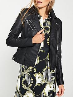 74d613e9856 V by Very Faux Leather PU Jacket - Black