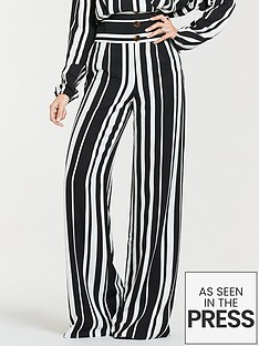 ca192729f949 Michelle Keegan Printed Wide Leg Linen Trousers - Mono Stripe