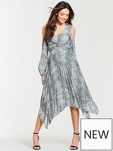 5a712f2df8 Michelle Keegan Pleated Hanky Hem Midi Dress - Snake Print