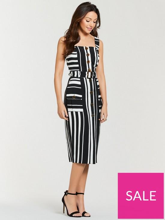 b6b30f1c8f75cb Michelle Keegan Belted Stripe Midi Dress - Mono Stripe | very.co.uk