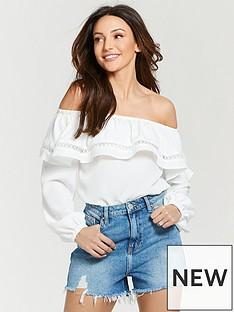 michelle-keegan-ruffle-bardot-blouse-ivory