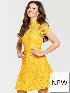 Michelle Keegan High Neck Skater Dress - Yellow 5f8d108c2