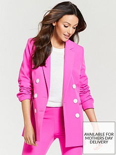 Michelle Keegan Oversized Double Breasted Blazer - Fuchsia 64ffcadcf