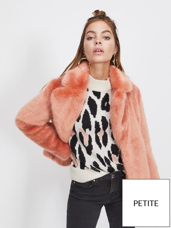 b9ea09898c8e4 Miss Selfridge Faux Fur Coat - Pink
