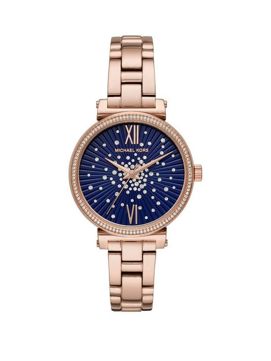 9d09027aa1b MICHAEL KORS Michael Kors Mini Sofie Blue and Crystal Constellation Dial  Rose Gold Stainless Steel Bracelet Ladies Watch