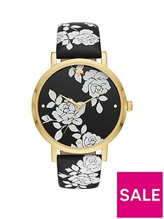 kate-spade-new-york-kate-spade-metro-black-and-white-rose-dial-matching-black-leather-printed-strap-ladies-watch