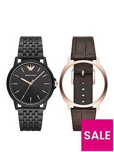 emporio-armani-emporio-armani-black-and-rose-gold-dial-with-interchangeable-brown-leather-and-black-stainless-steel-bracelet-mens-watch-gift-set