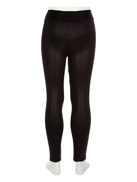7a9f155cd165a River Island Girls black coated wet look leggings | very.co.uk