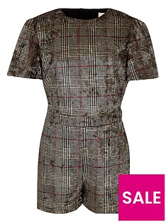 river-island-girls-brown-check-velvet-playsuit