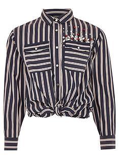 river-island-girls-blue-stripe-sequin-tie-front-shirt