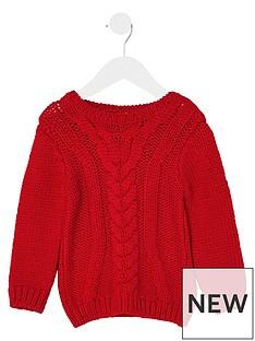 river-island-mini-mini-boys-red-chunky-cable-knit-jumper