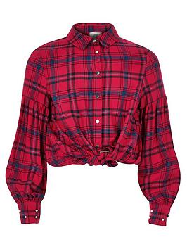 river-island-girls-red-puff-sleeve-check-shirt
