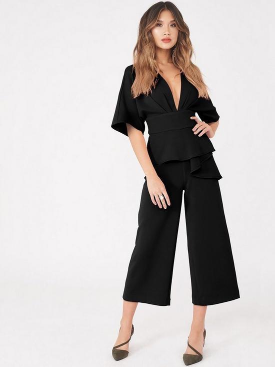 a9c7d1f389 Lavish Alice Kimono Sleeve Peplum Culotte Jumpsuit - Black
