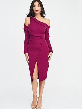 lavish-alice-off-shoulder-tuxedo-wrap-midi-dress-purple
