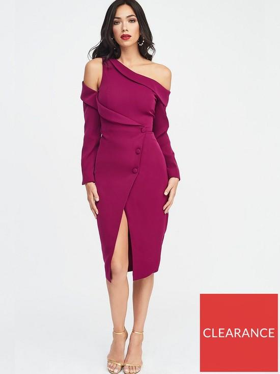 dd0a5454fed38 Lavish Alice Off Shoulder Tuxedo Wrap Midi Dress - Purple | very.co.uk