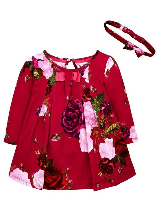 2e94f321a805f0 Baker by Ted Baker Toddler Girls Rose Print Jersey Dress   Headband ...