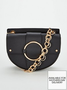 Michelle Keegan Palma Circle Chain Strap Saddle Bag - Black b251cfa127bed