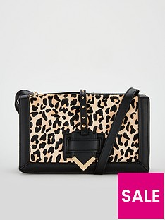 4334b784e68d V by Very Piazza Leather Cross Body Bag - Leopard Print