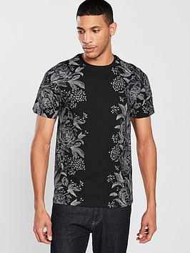 river-island-black-floral-print-slim-fit-t-shirt