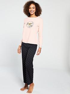 V by Very Brunch Long Sleeve Pyjama Set - Peach Black 2e2bfb944