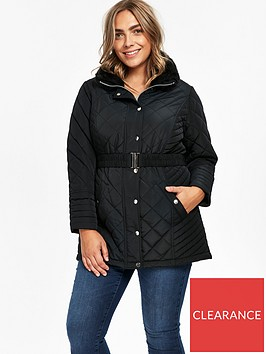 evans-faux-fur-collar-quilted-coat-black