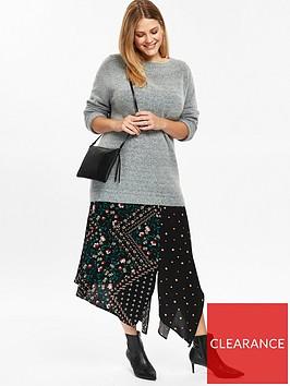 evans-patchwork-asymmetric-skirt-black