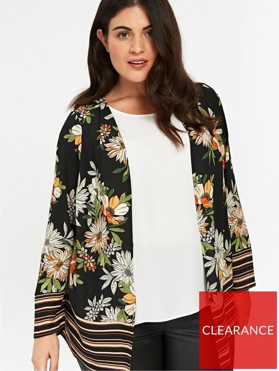 96d311ce77128 Evans Floral Stripe Border Kimono - Black | very.co.uk