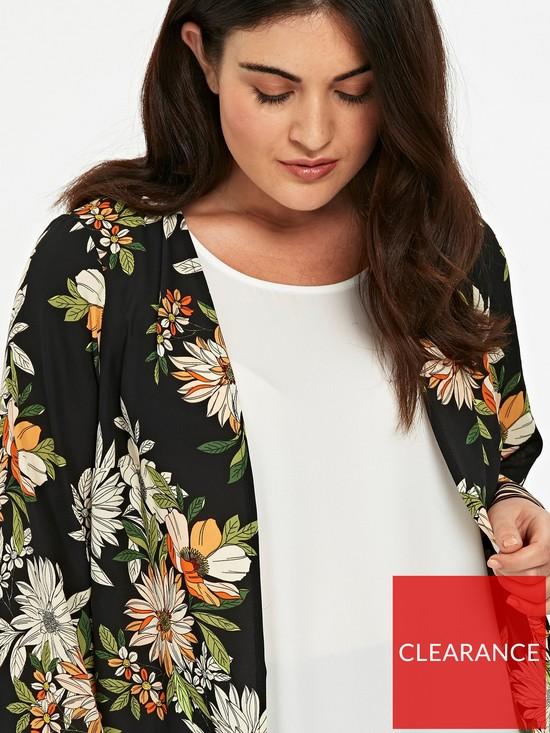 823994093fadf ... Evans Floral Stripe Border Kimono - Black. View larger