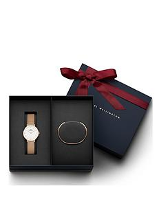 daniel-wellington-daniel-wellington-petite-melrose-white-dial-rose-gold-stainless-steel-mesh-strap-ladies-watch-and-rose-gold-cuff-gift-set