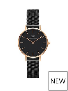 daniel-wellington-daniel-wellington-black-and-rose-gold-detail-28mm-dial-black-stainless-steel-mesh-strap-ladies-watch