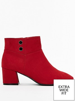 evans-extra-wide-fit-flared-heel-button-ankle-boot-red