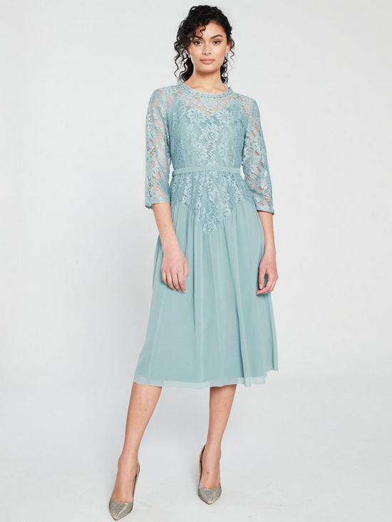 5bddd7fd9a1ae Little Mistress Clarita Lace Midi Dress - Blue | very.co.uk
