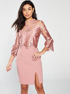 little-mistress-little-mistress-lace-top-knee-length-bodycon-dress