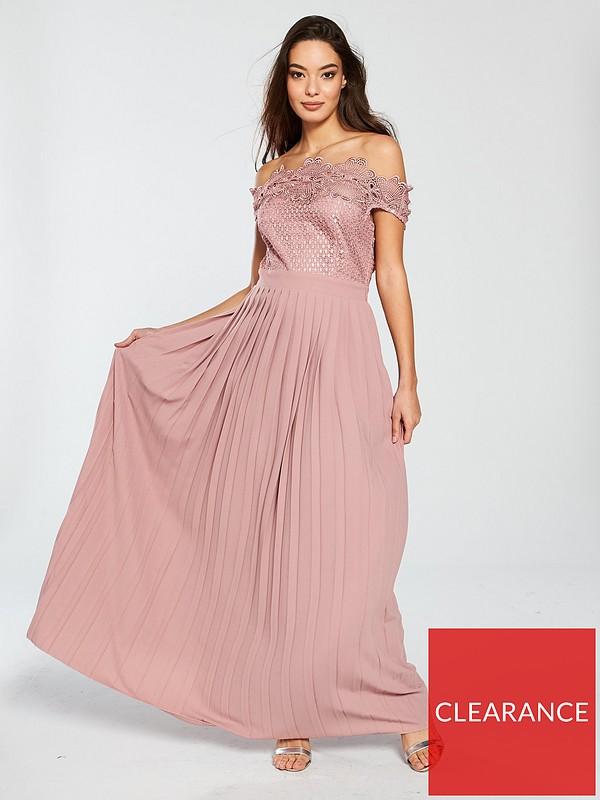 half off wide varieties high fashion Gaby Bardot Crochet Pleated Skirt Maxi Dress - Apricot
