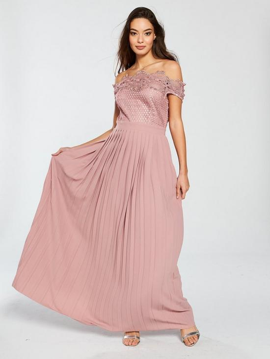 8afeaf23d15 Little Mistress Gaby Bardot Crochet Pleated Skirt Maxi Dress - Apricot