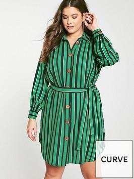 junarose-curve-long-sleeve-shirt-dress-green